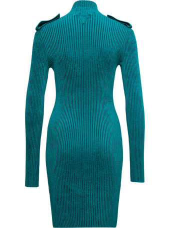 Bottega Veneta Petrol Color Ribbed Dress With Pockets