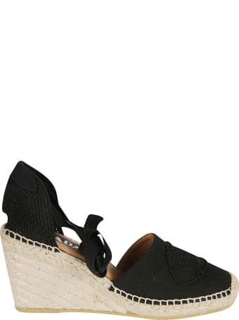 Prada Embossed Logo Wedge Espadrillas