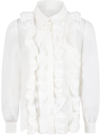 Elie Saab White Shirt For Girl With Logo