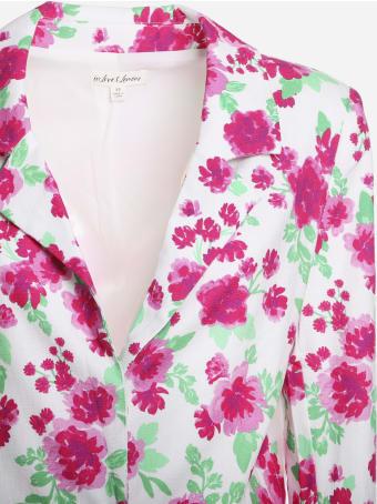 For Love & Lemons Stretch Linen Blazer With Floral Print