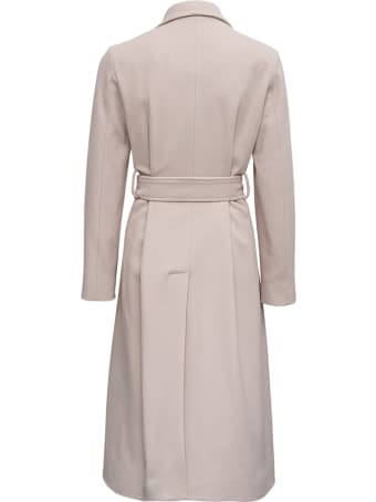 Jucca Long White Wool Blend Coat With Belt