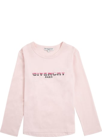 Givenchy Long-sleeved T-shirt In Pink Cotton With Logo Print