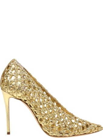 Casadei Pumps Versilia With Straw Color Gold