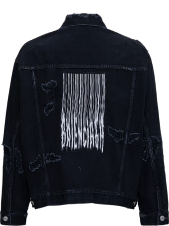 Balenciaga Barcode  Black Denim Jacket With Tears Detail