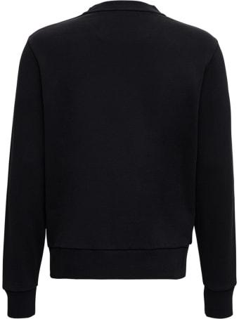 Moncler Black Cotton Sweatshirt With Logo Patch