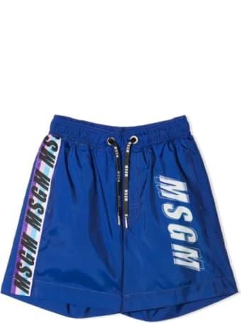 MSGM Logo Print Swim Shorts