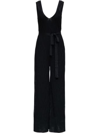 M Missoni Black Jumpsuit In Rayon Blend With Belt