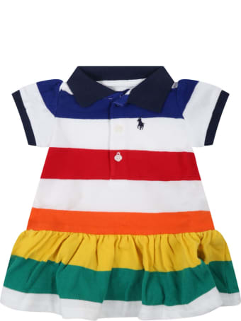 Ralph Lauren Multicolor Dress For Baby Girl With Pony Logo