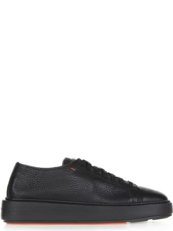 Santoni Sneaker In Black Leather