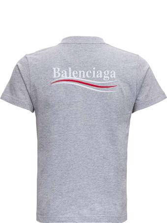 Balenciaga Grey Cotton T-shirt With Logo Print