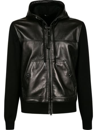 Tom Ford Shiny Leather Hooded Zip Jacket