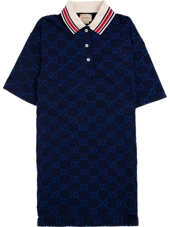 Gucci Blue Gg Cotton Polo Shirt With Contrasting Collar