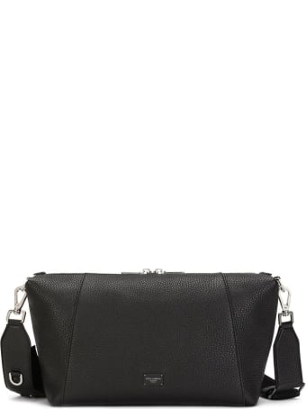Dolce & Gabbana Palermo Crossbody Bag In Black Leather With Logo