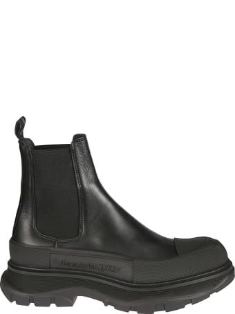 Alexander McQueen Elastic Sided Embossed Logo Boots