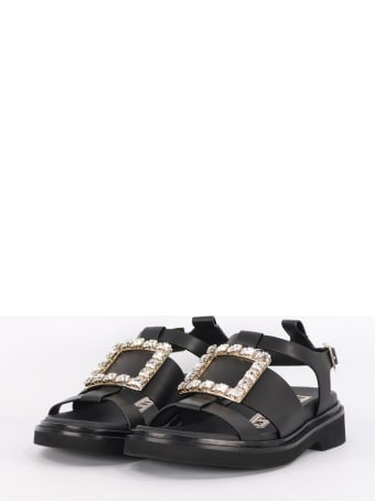 Roger Vivier Viv 'rangers Sandals With Rhinestone Buckle Balck