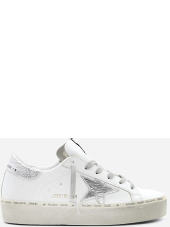 Golden Goose Hi Star Sneaker In Leather With Laminated Effect Inserts