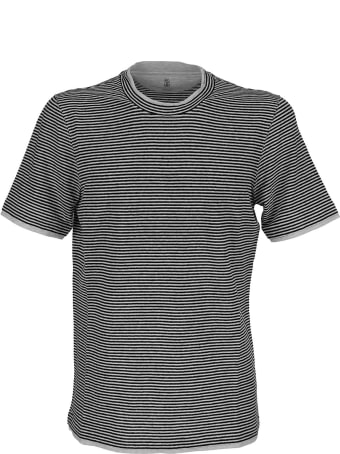 Brunello Cucinelli Stretch Linen Striped Jersey Slim Fit Crew Neck T-shirt Navy Blue