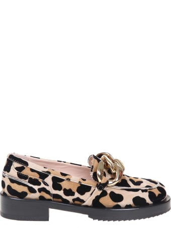 N.21 Animalier Suede Moccasin With Oversized Chain