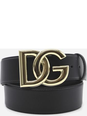Dolce & Gabbana Leather Belt With Interwoven Dg Logo