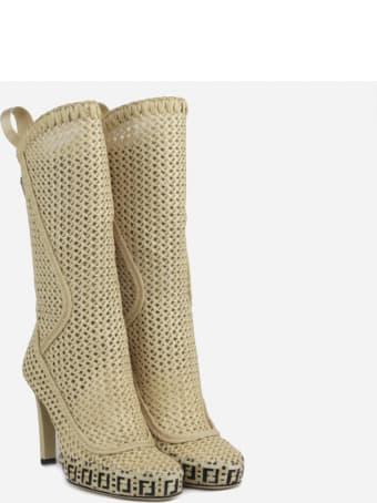 Fendi Reflections Rafia Boots