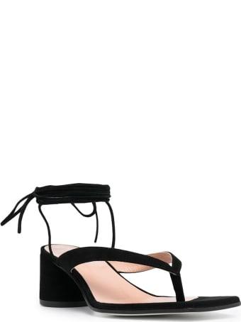 Pollini Black Suede Sandals With Wide Heel