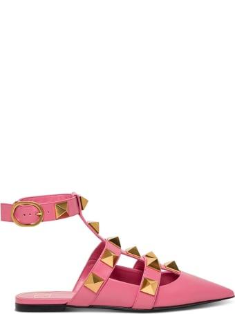 Valentino Garavani Pink Leather Roman Stud Mules