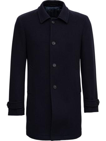Tagliatore Single-breasted Coat In Blue Wool