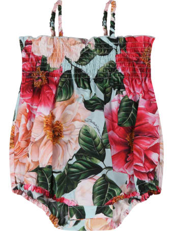 Dolce & Gabbana Multicolor Romper For Babygirl With Camellias