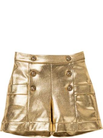 Balmain Gold Teen Bermuda Shorts With Buttons