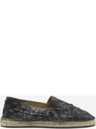 Preventi Leather Espadrilles With Woven Pattern