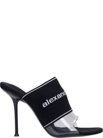 Alexander Wang Sienna Logo  Sandals In Black Nylon