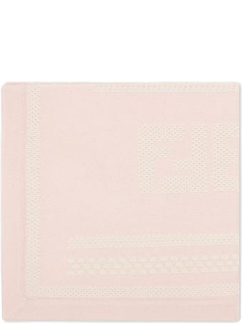 Fendi Pink Cotton And Cashmere Baby Blanket