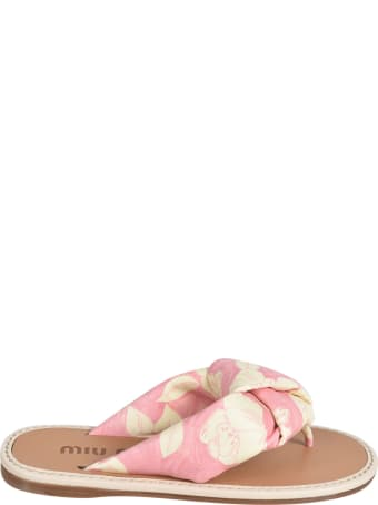 Miu Miu Floral Printed Flip Flops