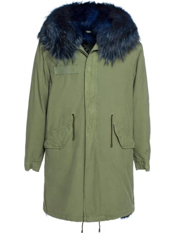 Mr & Mrs Italy Exclusive Fw20 Icon Parka: Army Cotton Canvas Parka With Dyed Lapin Fur Lining