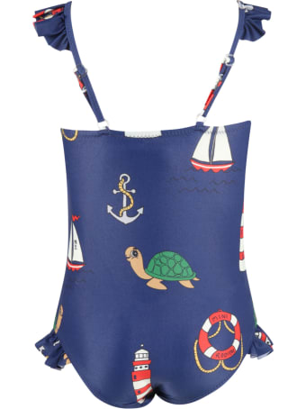 Mini Rodini Blue Swimsuit Foor Girl With Turtles