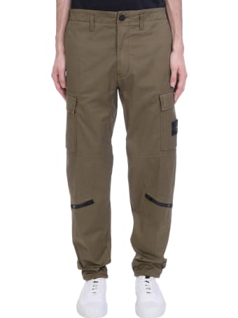 Stone Island Pants In Green Cotton