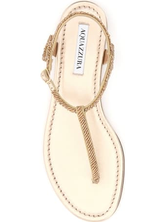 Aquazzura Almost Bare Beaded Flat Sandals
