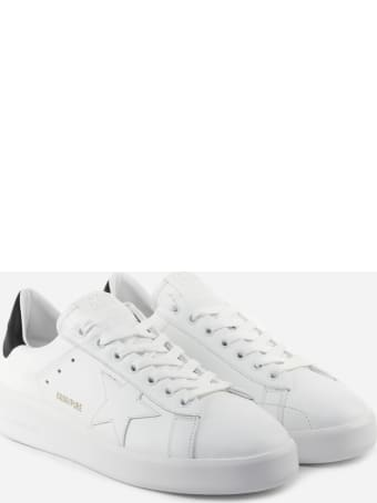 Golden Goose Purestar Sneakers In Leather With Contrasting Heel Tab
