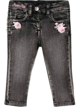Monnalisa Black Jeans In Denim
