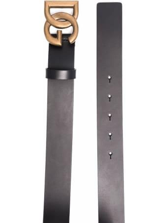 Dolce & Gabbana Black Leather Belt With Dg Buckle