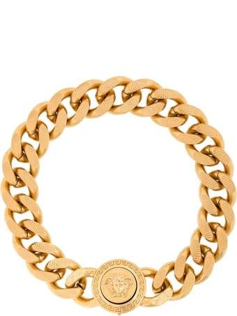 Versace Golden Metal Chain Bracelet With Logo
