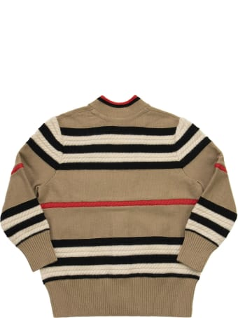 Burberry Leeta - Wool And Cashmere Cardigan With Iconic Striped Pattern