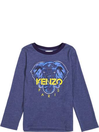 Kenzo Kids Long-sleeved Blue Cotton T-shirt With Logo Print
