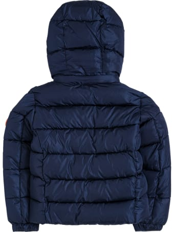 Save the Duck Ecological Blue Nylon Down Jacket With Logo