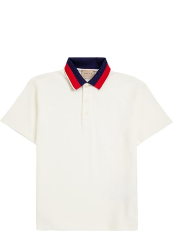 Gucci Cotton Polo Shirt With Blue And Red Collar