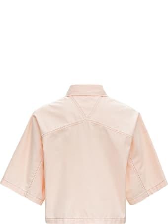 Bottega Veneta Crop Shirt In Pink Denim