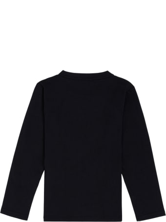 Emporio Armani Long-sleeved Blue Cotton T-shirt With Logo Print