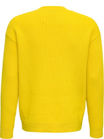 Saint Laurent Yellow Ribbed Wool Sweater With Logo Print