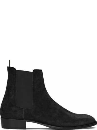 Saint Laurent Wyatt Chelsea Boots In Leather