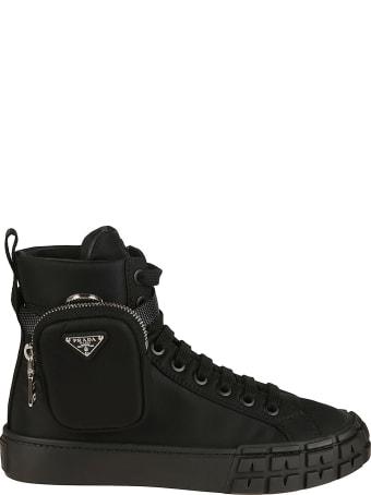 Prada Pouch Applique Lace-up Ankle Boots
